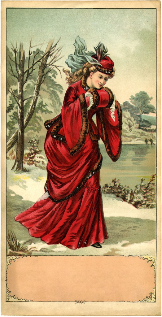 Stunning Victorian Winter Lady Image The Graphics Fairy