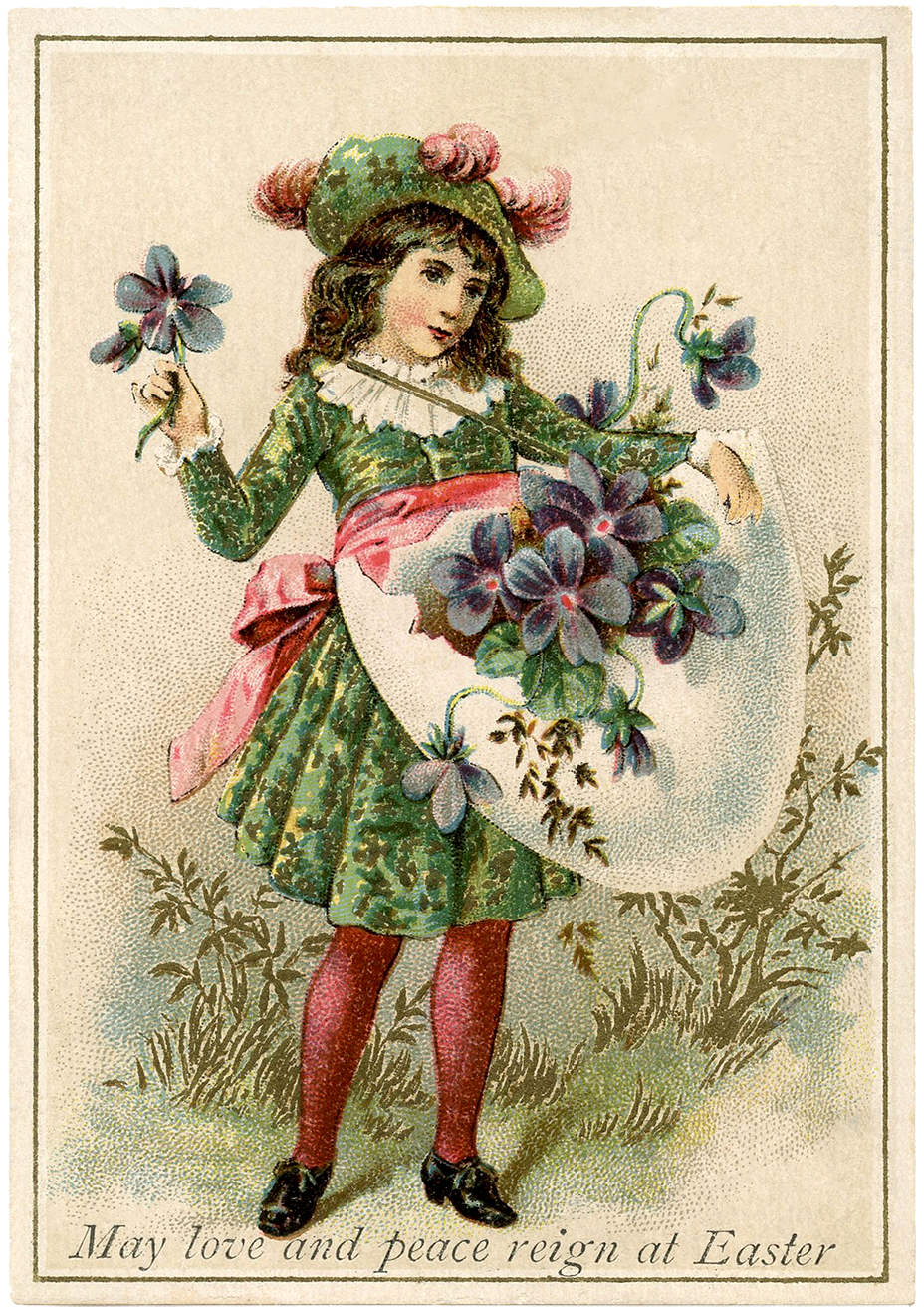 Easter Violets Egg Medieval Child The Graphics Fairy