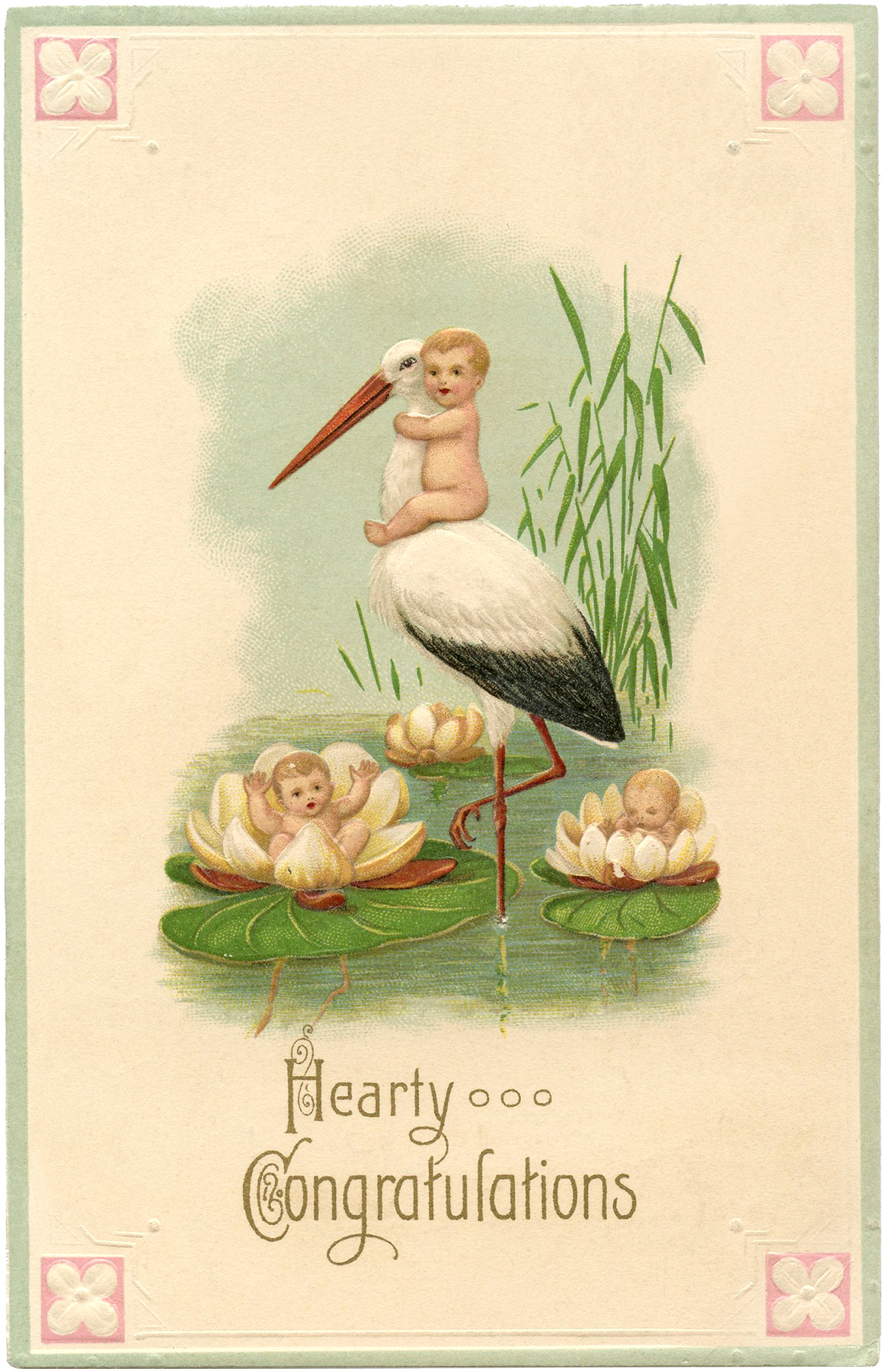 Cute Vintage Stork Card With Babies The Graphics Fairy