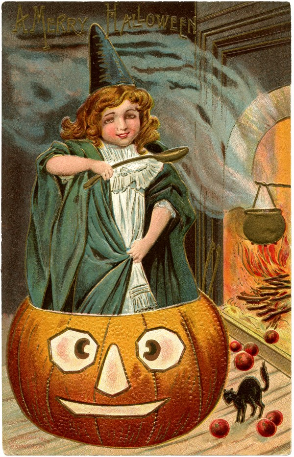 Vintage Halloween Picture - Cute Witch with Pumpkin! - The ...