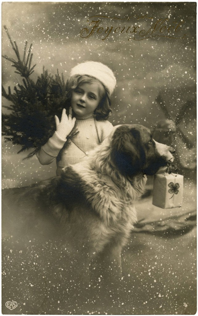 Vintage Christmas Girl With Dog Photo The Graphics Fairy