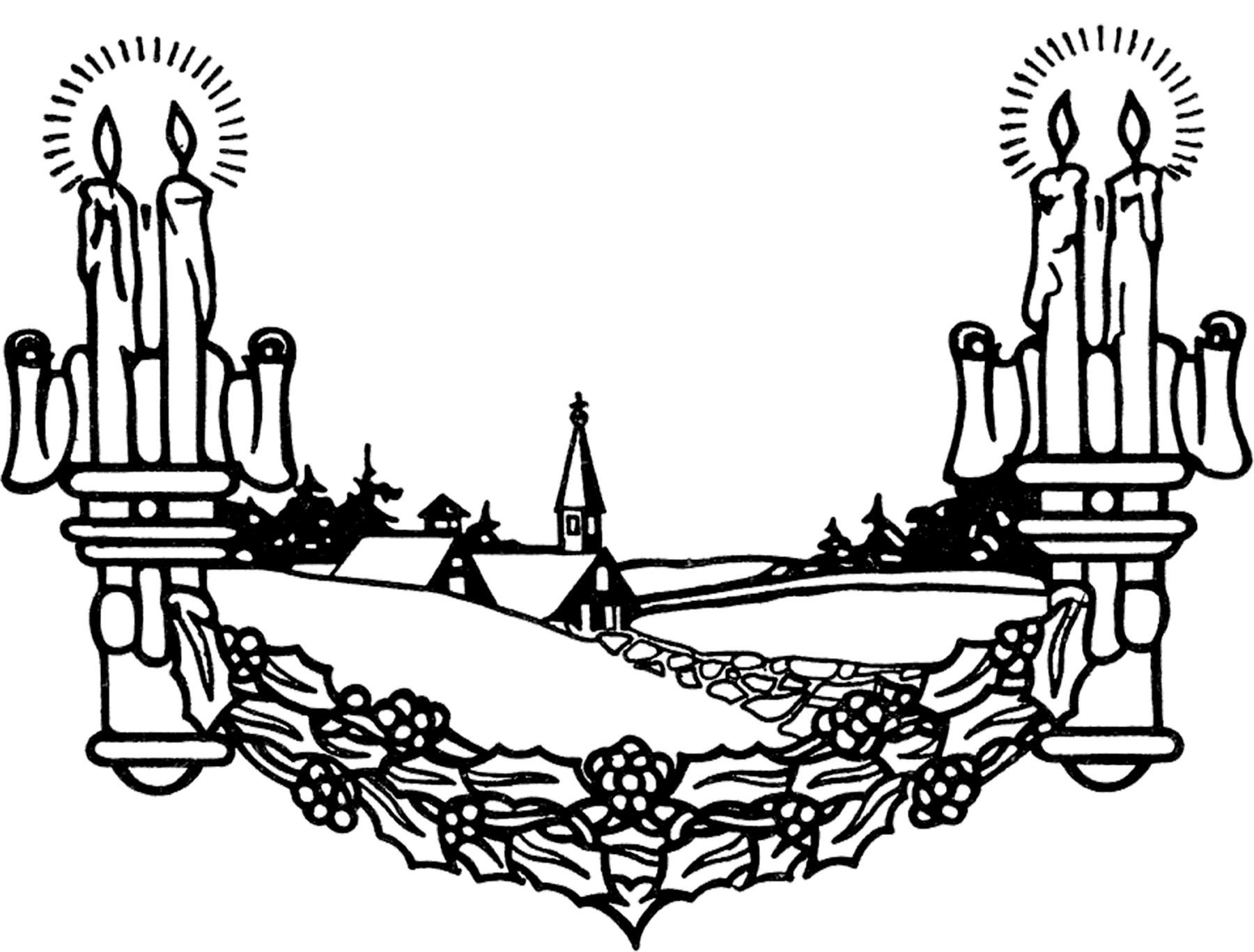 Vintage Candlelight Church Scene