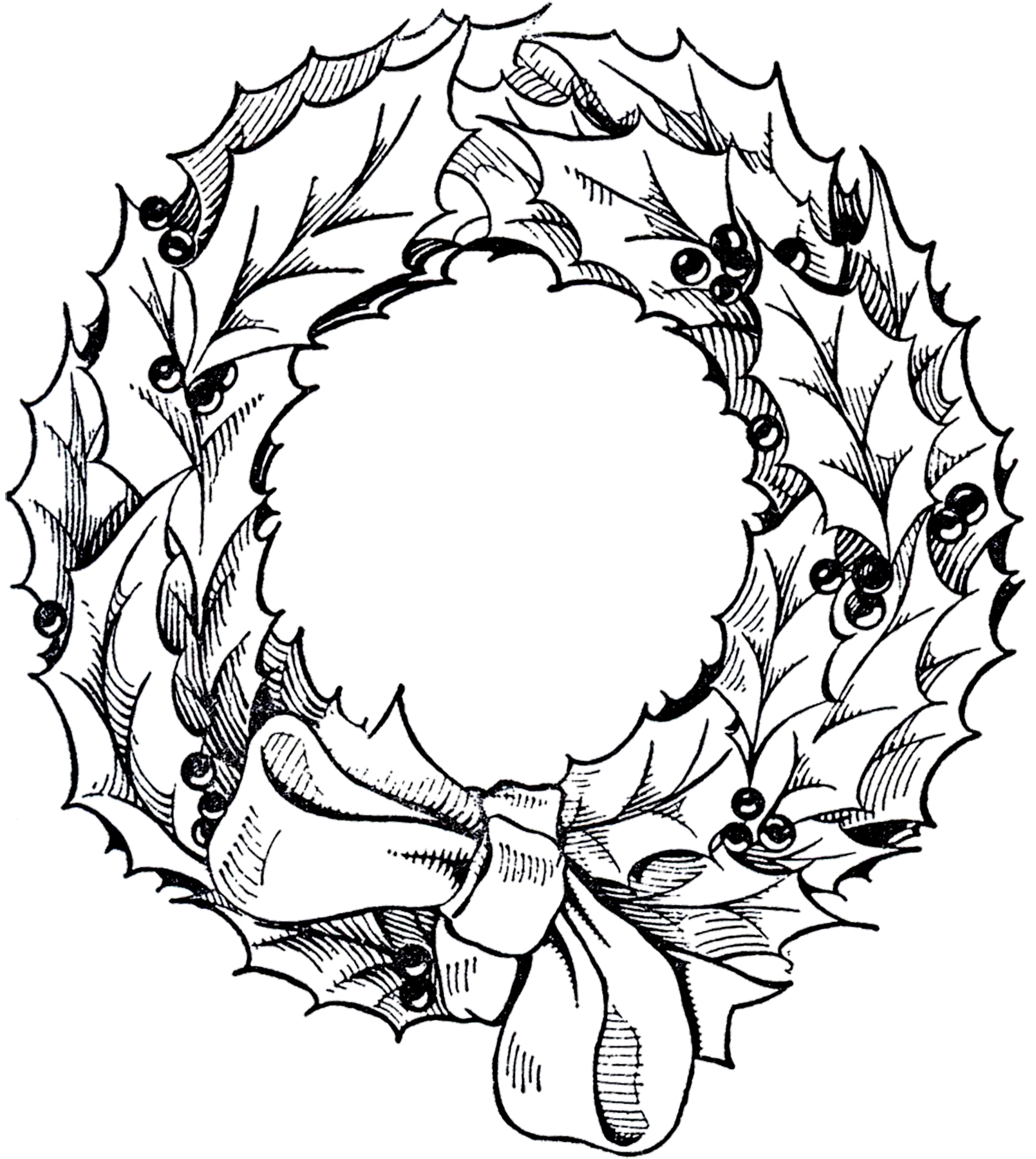 Vintage Christmas Wreath Graphic