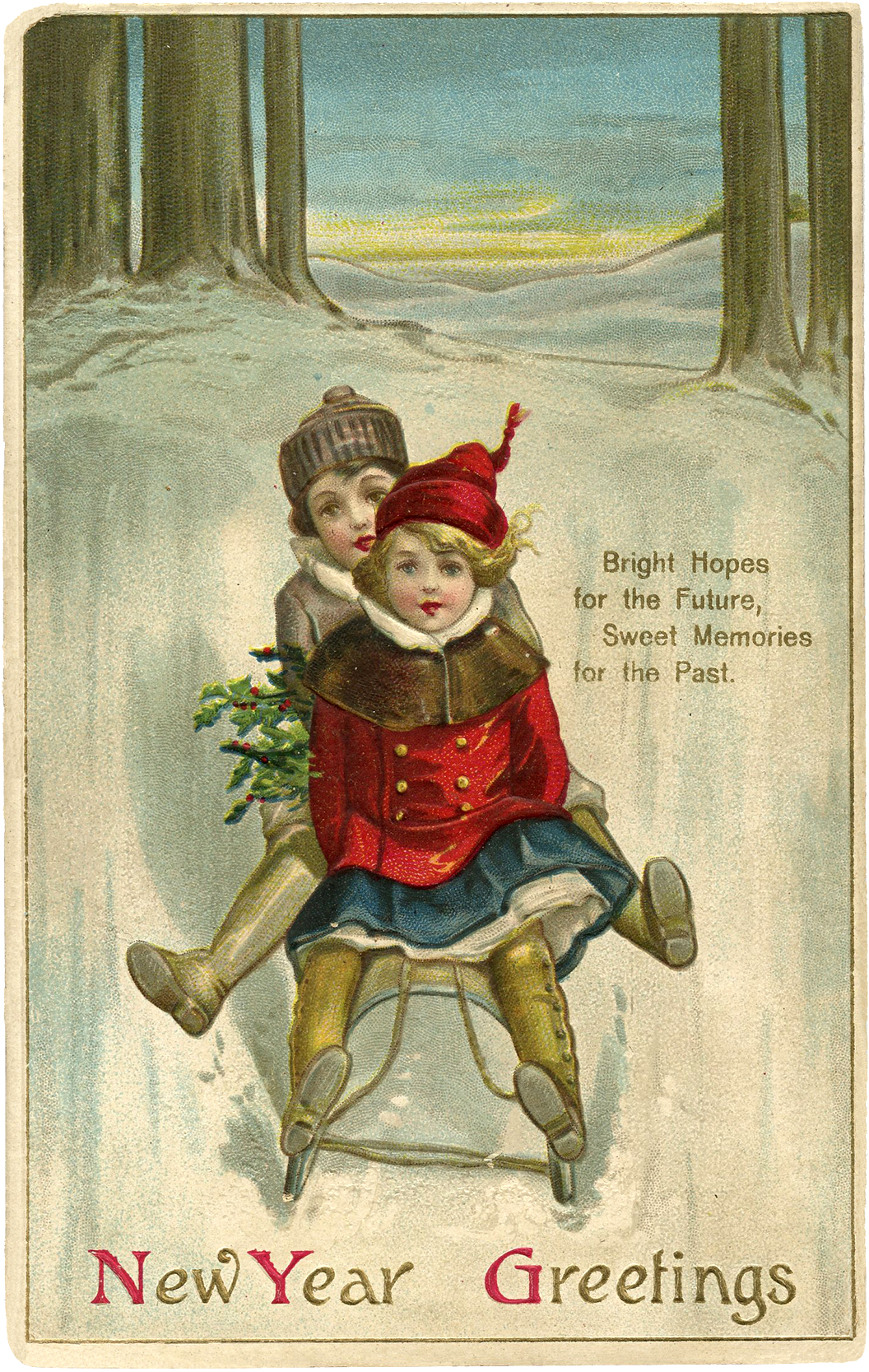Vintage New Year Sled Image   Cute    The Graphics Fairy Vintage New Year Sled Image