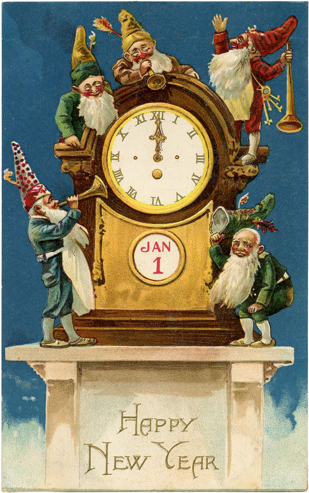 Vintage New Year Gnomes