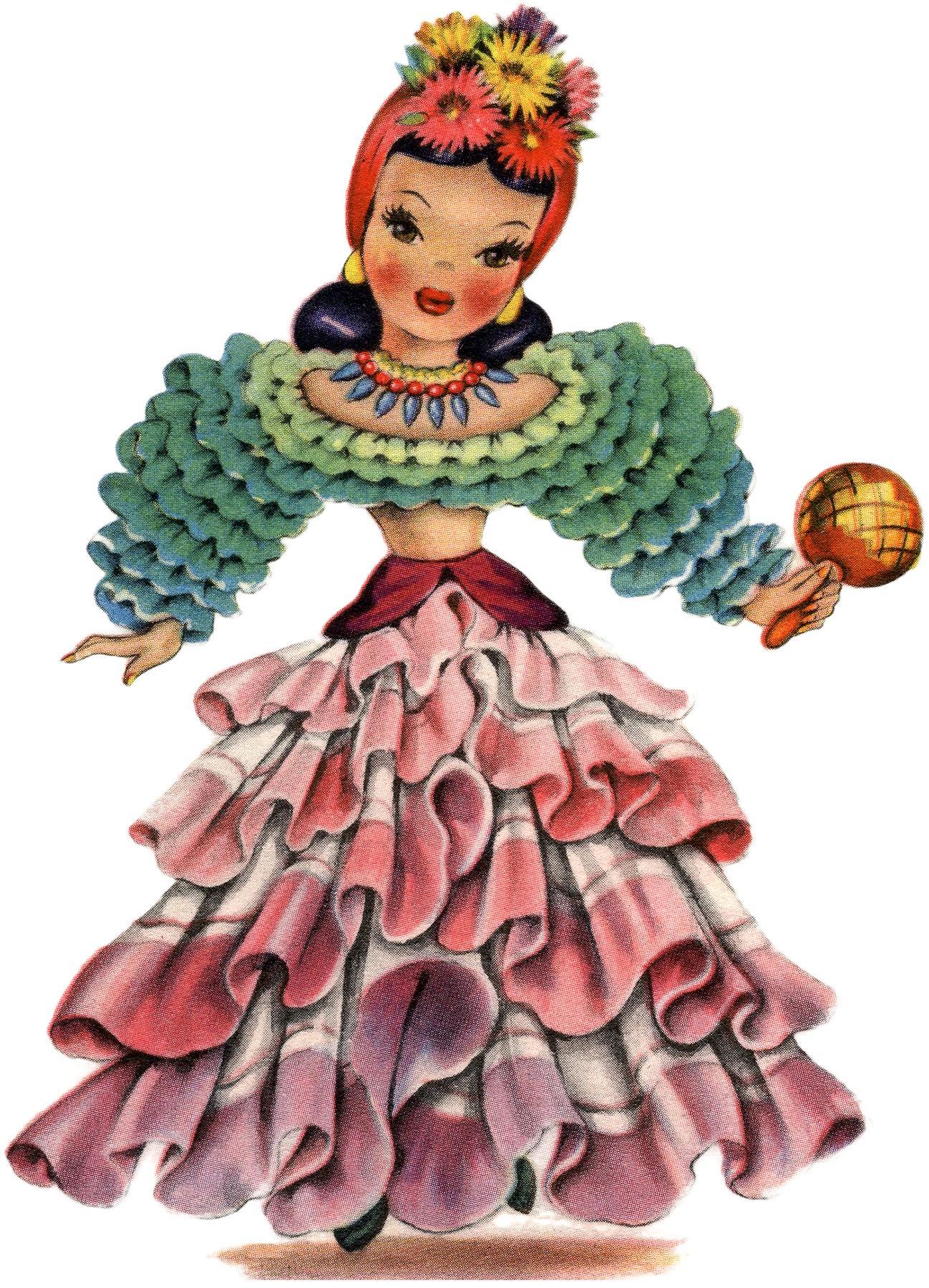 Retro Latin America Doll Image The Graphics Fairy