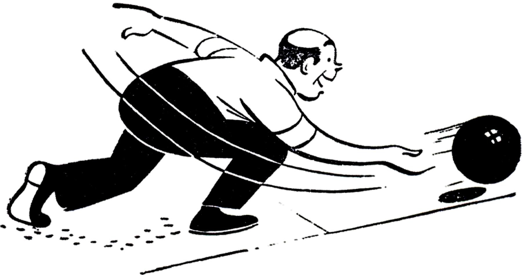 Vintage Bowling Man Image