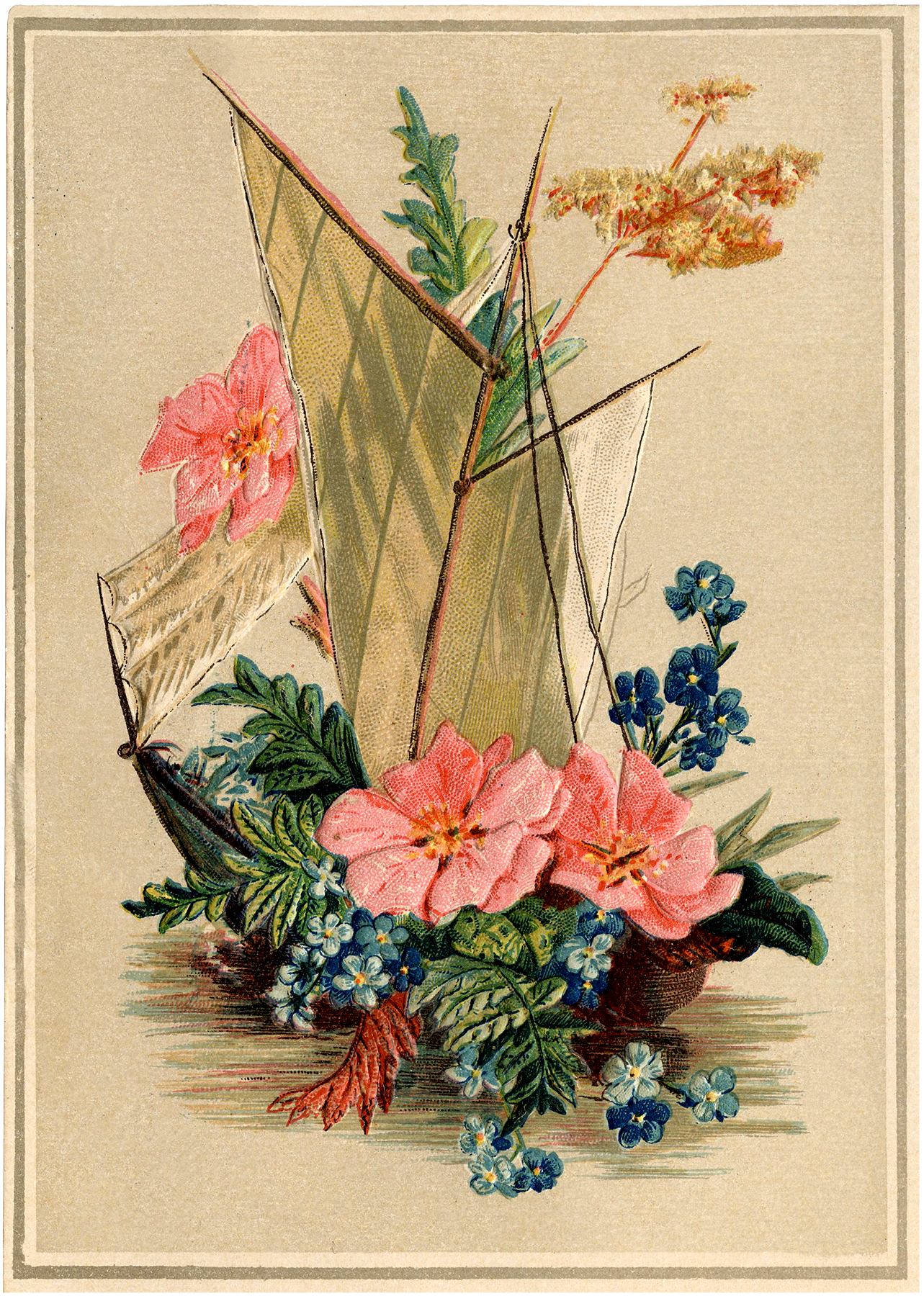 Vintage Sailboat With Flowers Image Pretty The