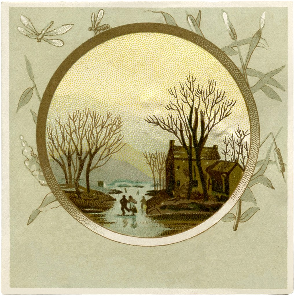 Pretty Vintage Winter Landscape Image The Graphics Fairy