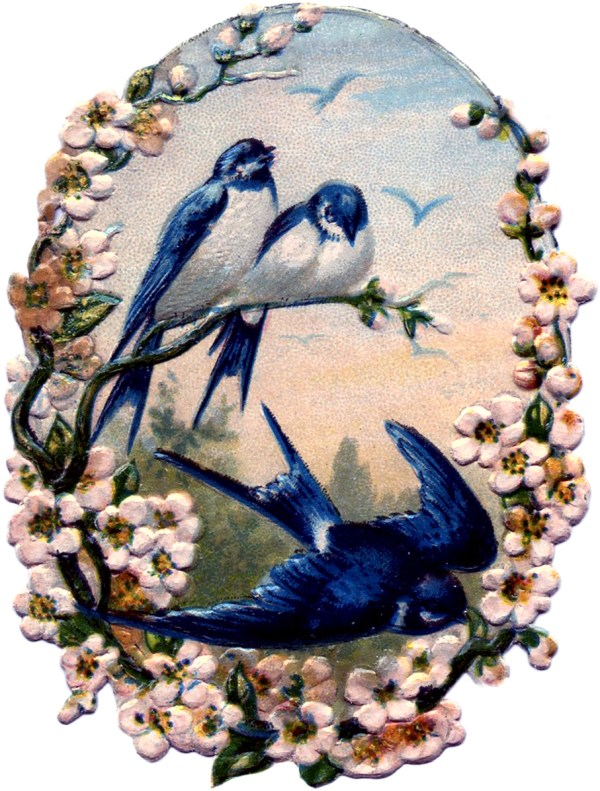 Vintage Birds with Flowers Scrap - Pretty! - The Graphics ...