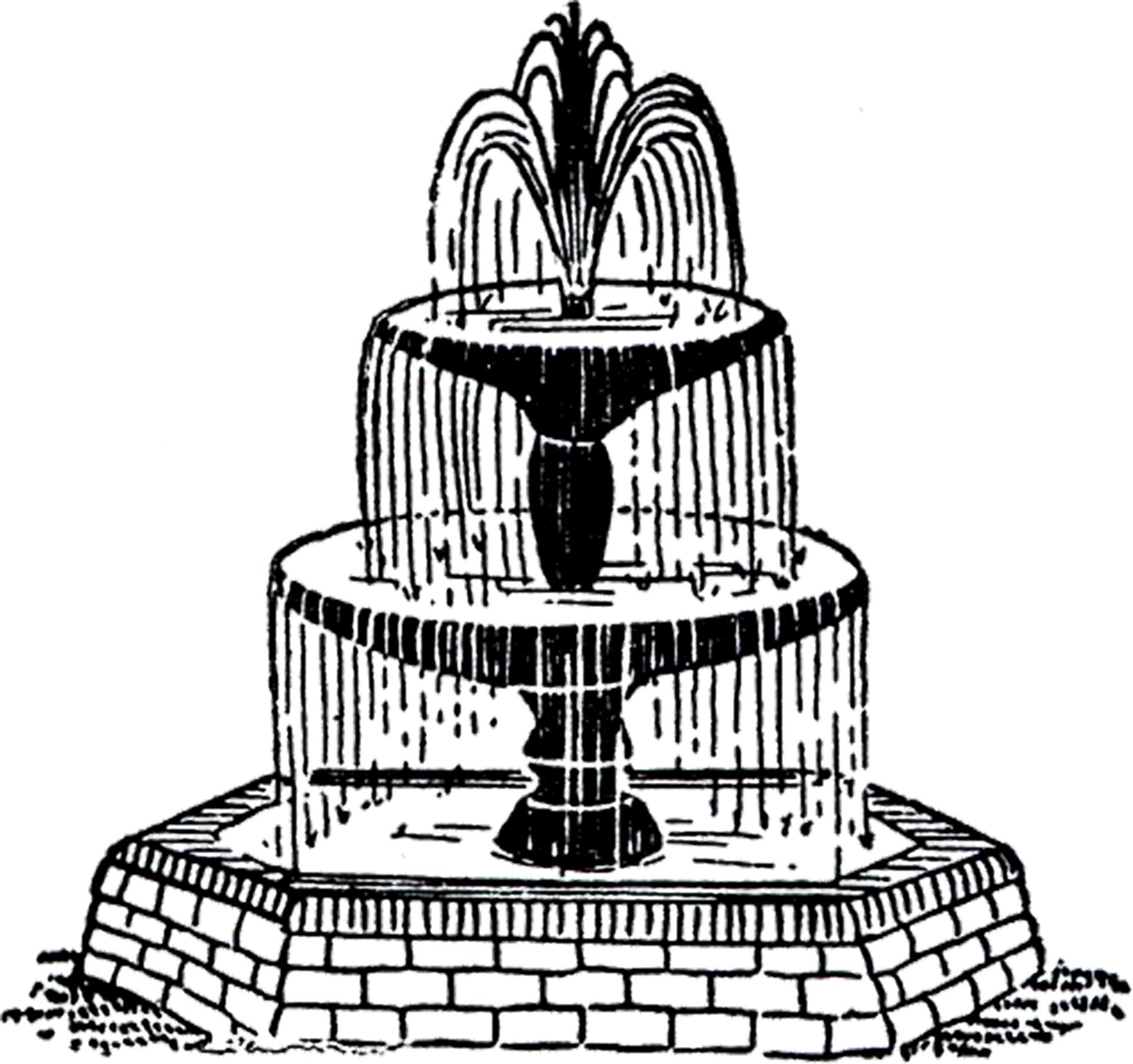 Free Vintage Fountain Clip Art