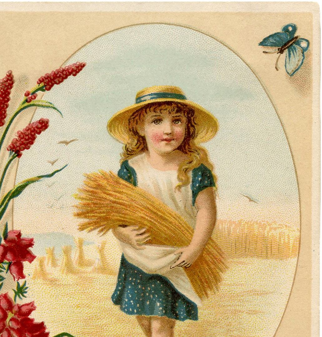 Cute Vintage Wheat Harvest Girl The Graphics Fairy