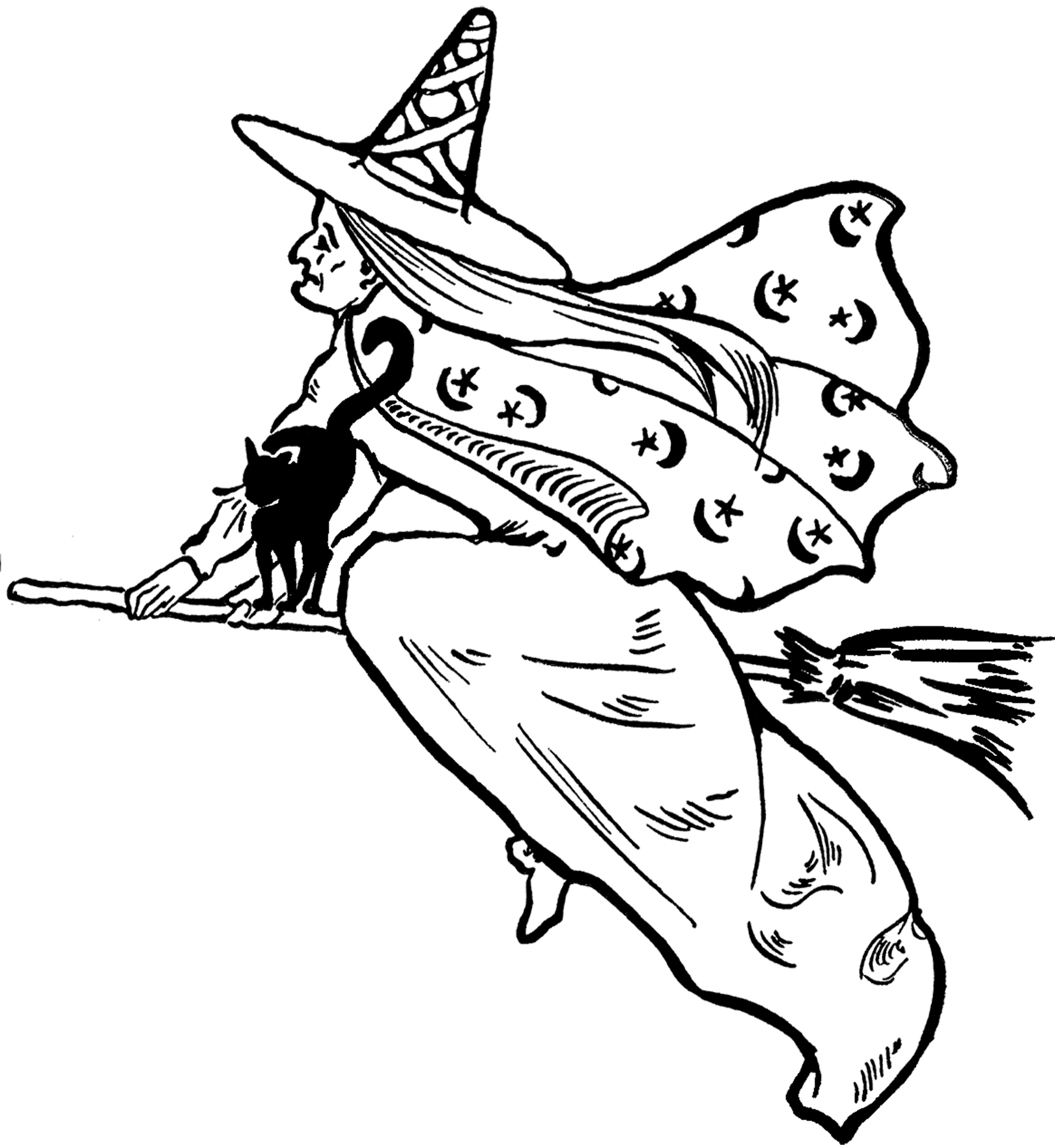 Free Flying Witch Clip Art