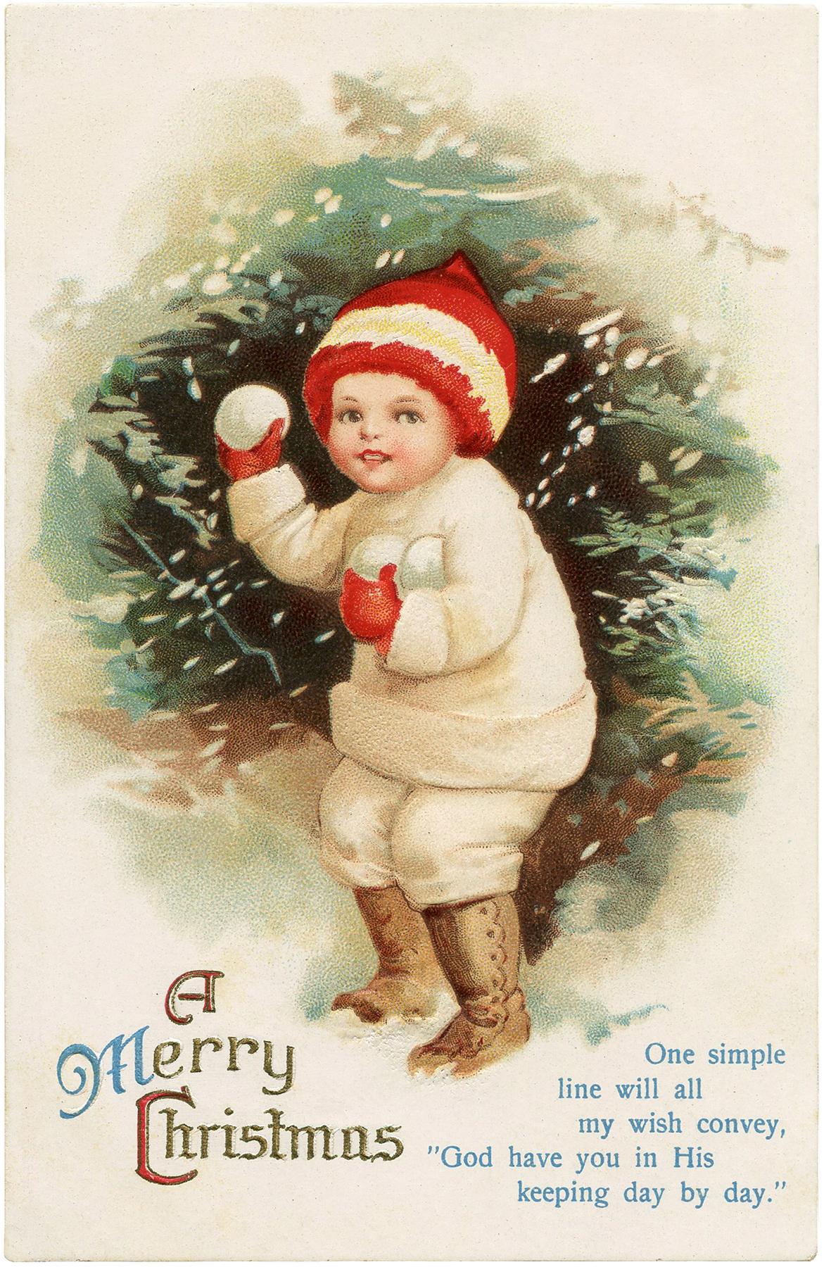 Antique Snowball Boy Postcard The Graphics Fairy