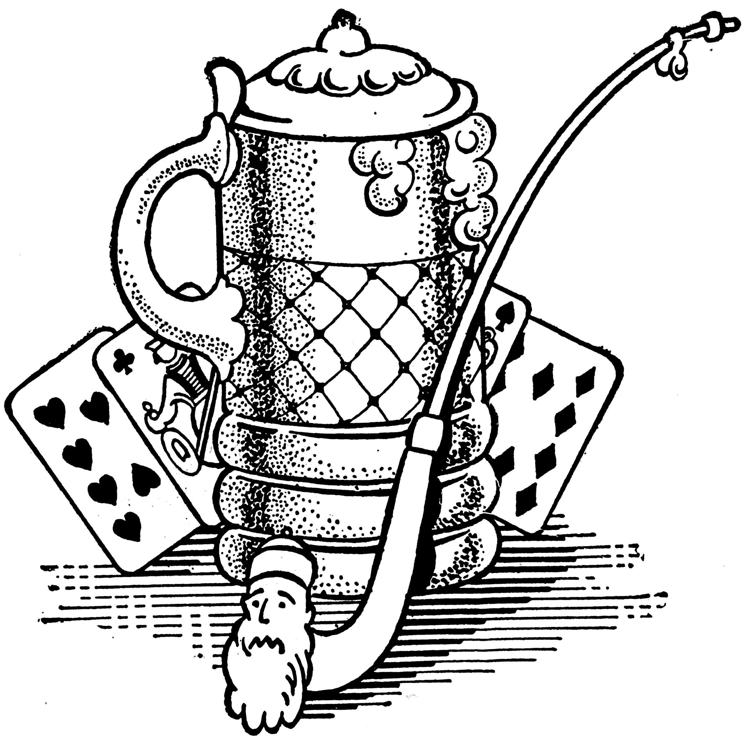 Black And White Beer Stein And Pipe Image