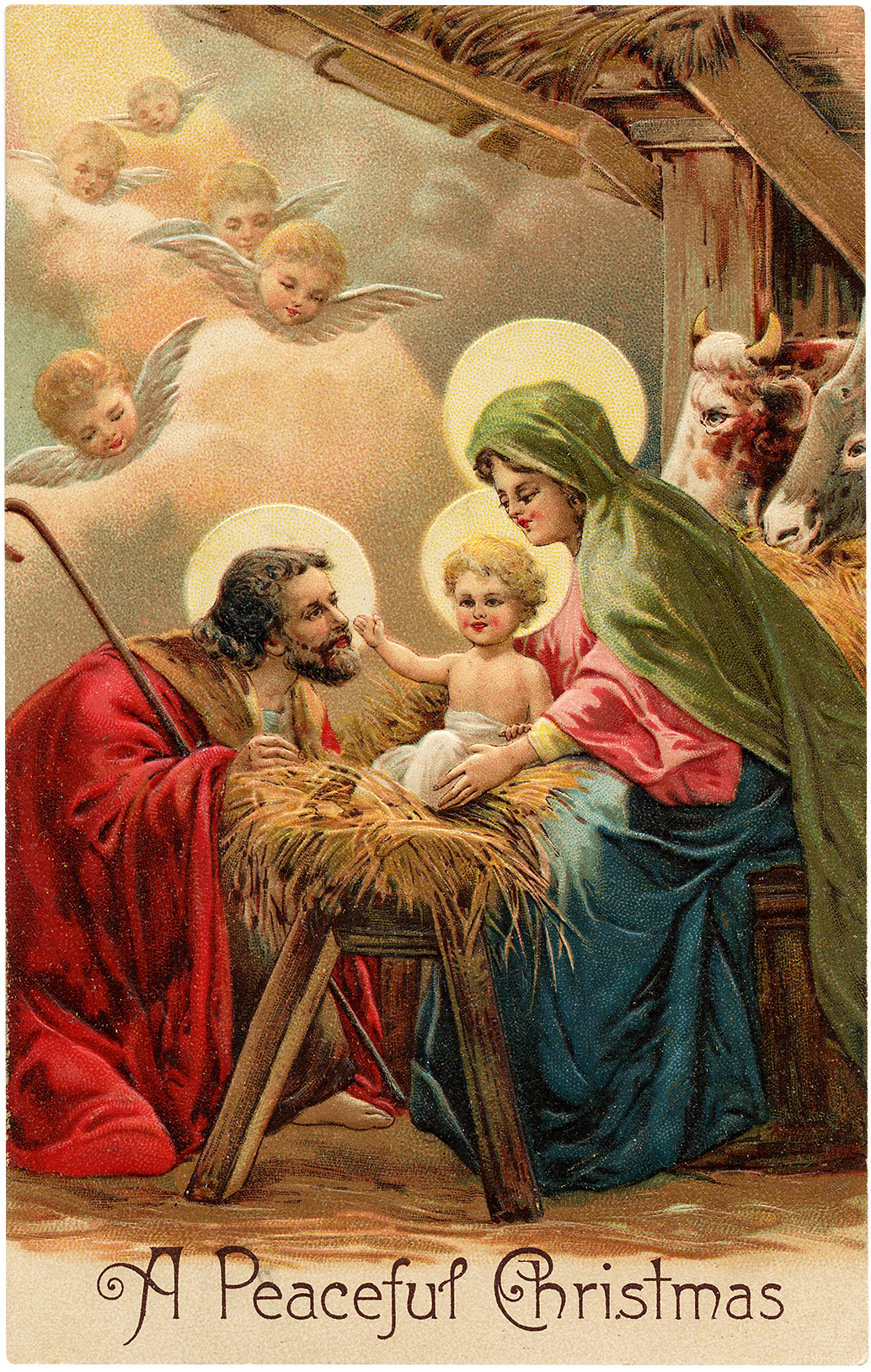 Vintage Peaceful Christmas Nativity Image The Graphics