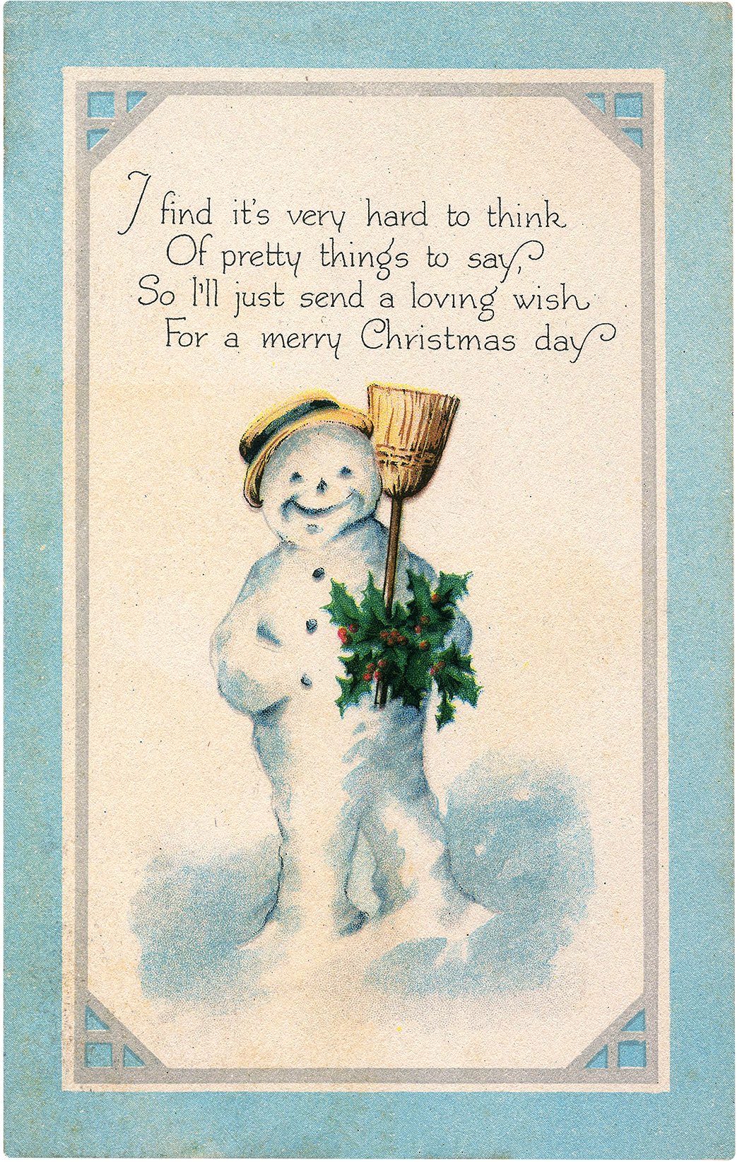 Old Cute Holiday Snowman Postcard