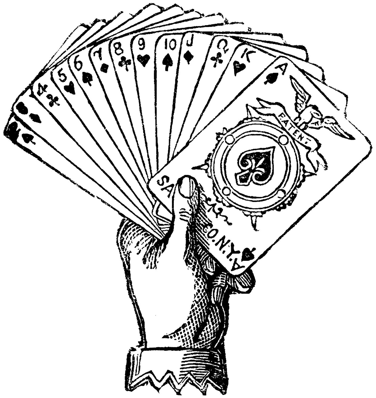 Vintage Joker Hand Holding Playing Cards Engraving
