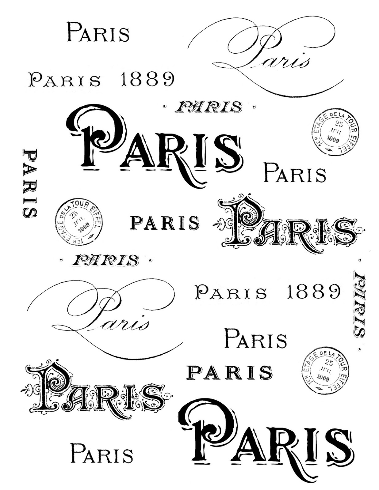 French Transfer Printable