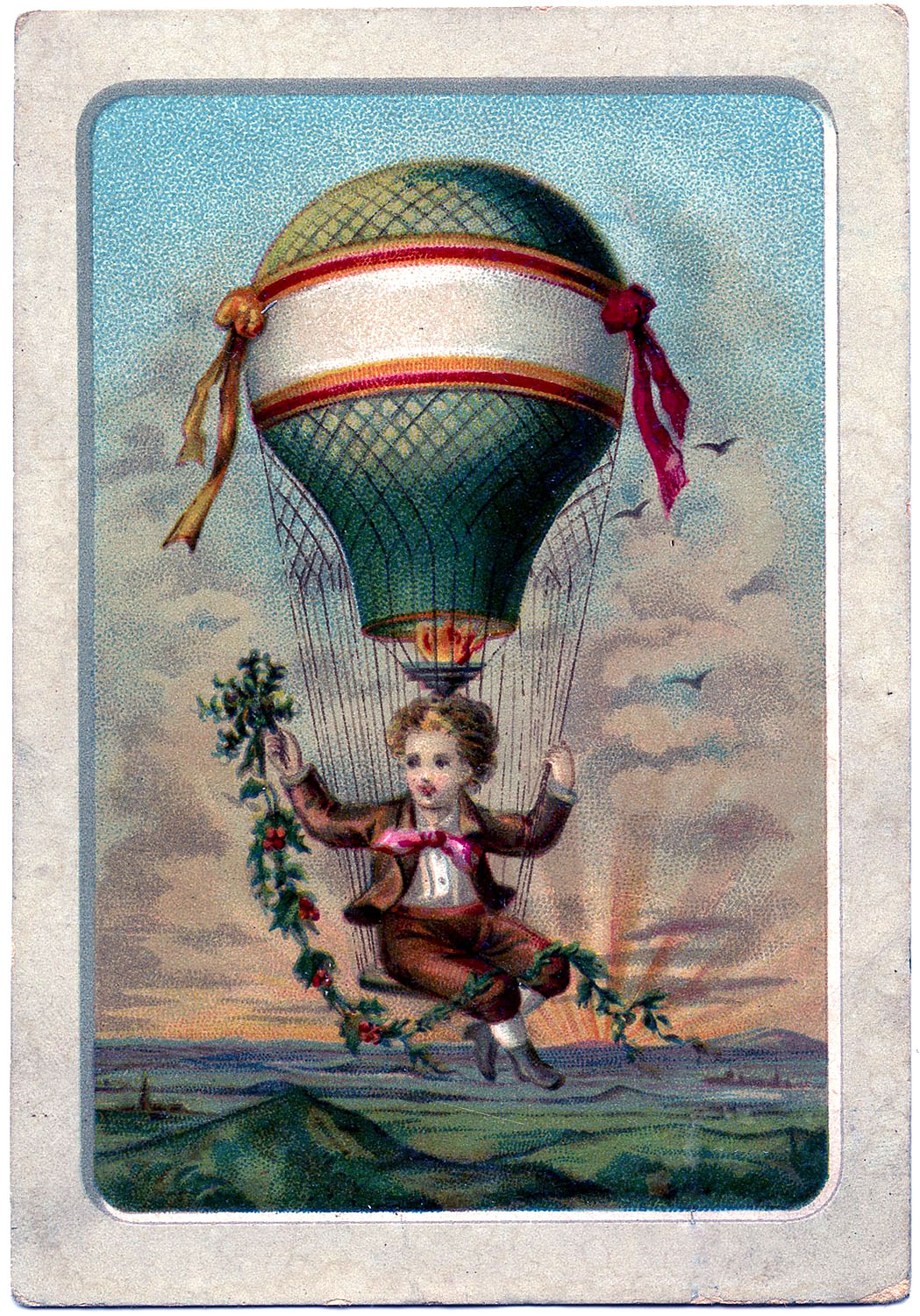 Vintage Graphic Boy In Hot Air Balloon The Graphics Fairy