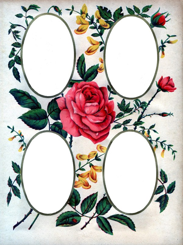Victorian Album Page Printable - Roses - The Graphics Fairy