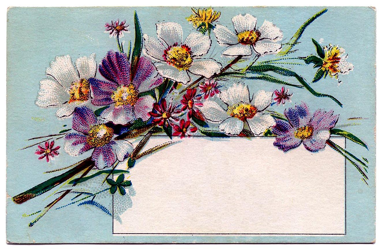 Vintage Clip Art Pretty Floral Label Tag The