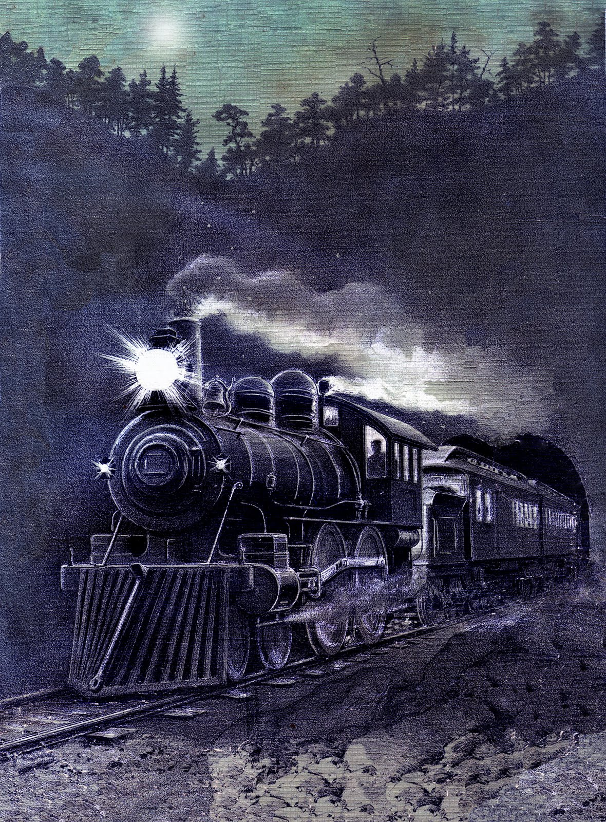 Vintage Graphic Magical Midnight Train Printable The