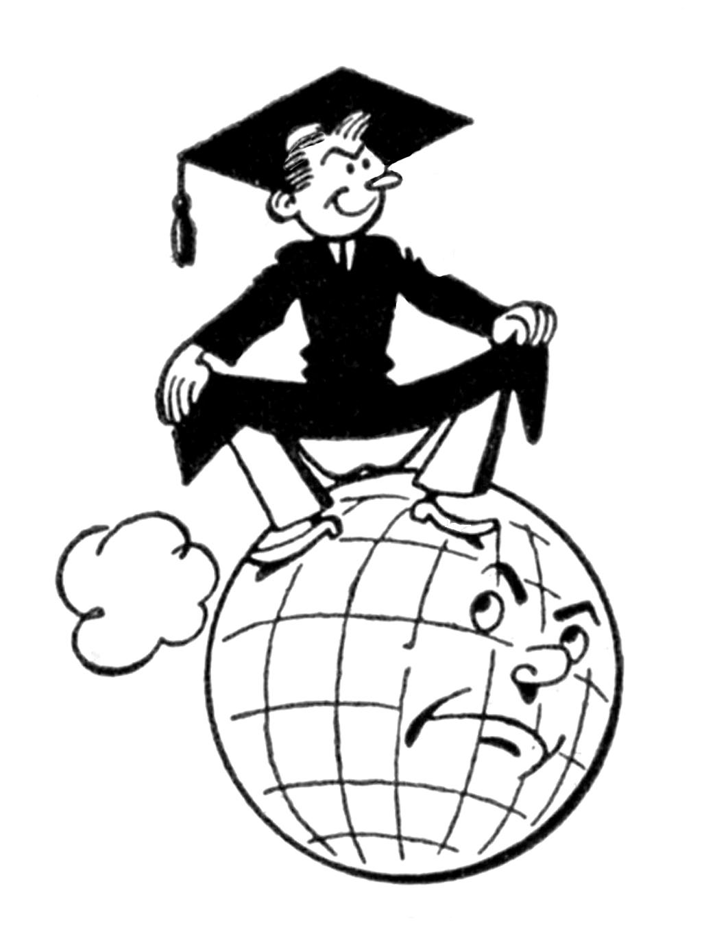 Quirky Retro Graduate Clip Art