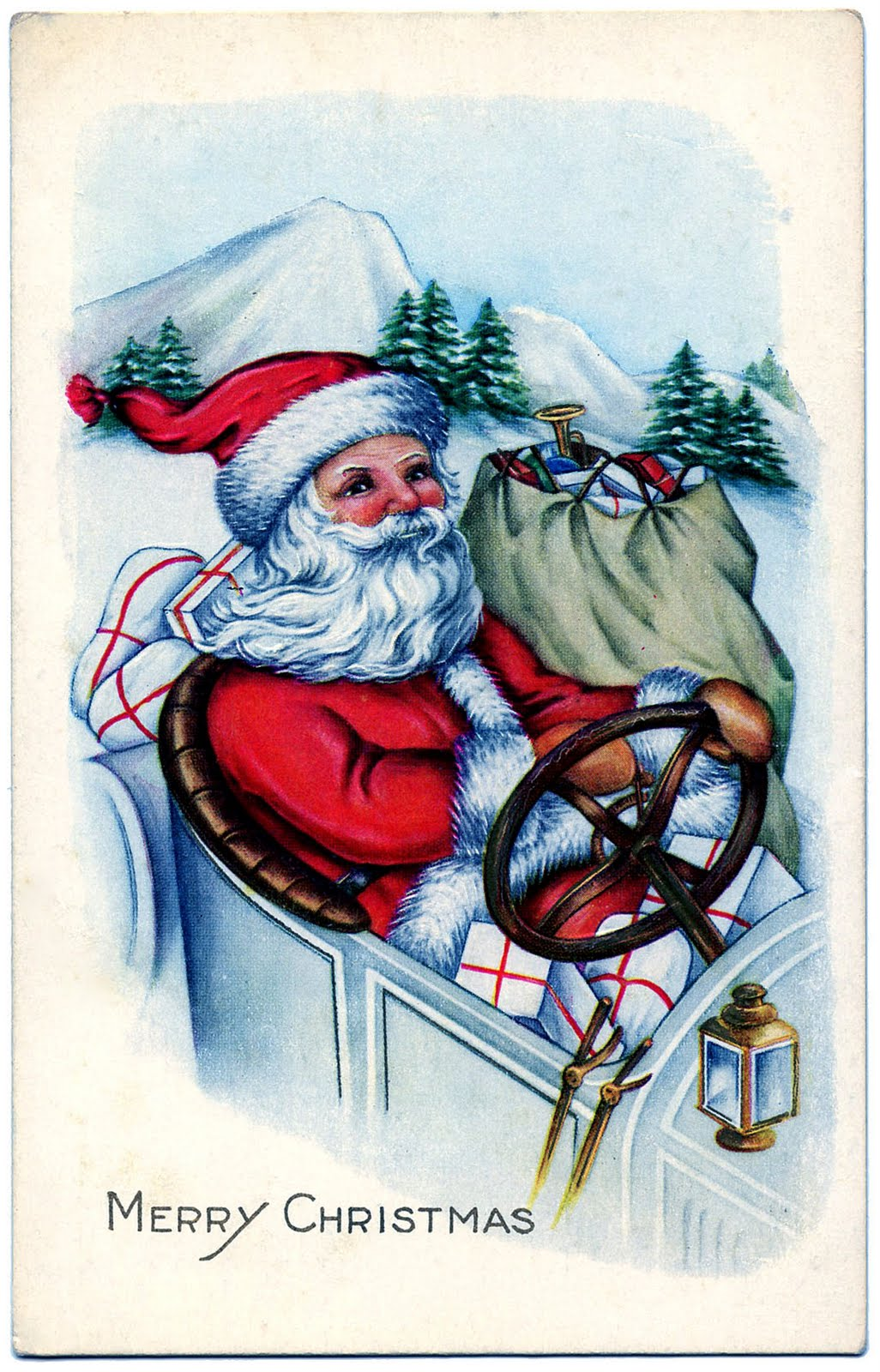 Vintage Image Santa Driving A Car The Graphics Fairy