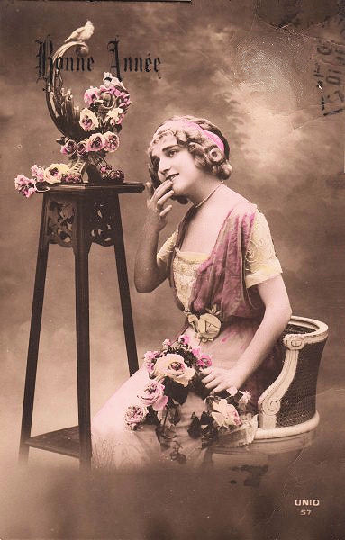 Vintage Sepia Postcard French Woman The Graphics Fairy