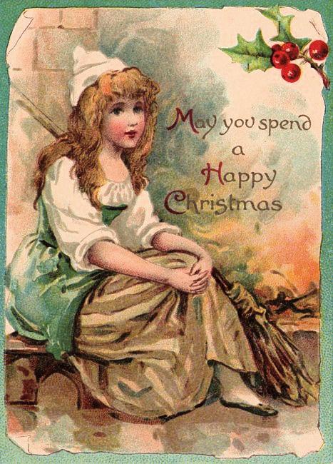 Antique Cinderella Christmas Card The Graphics Fairy
