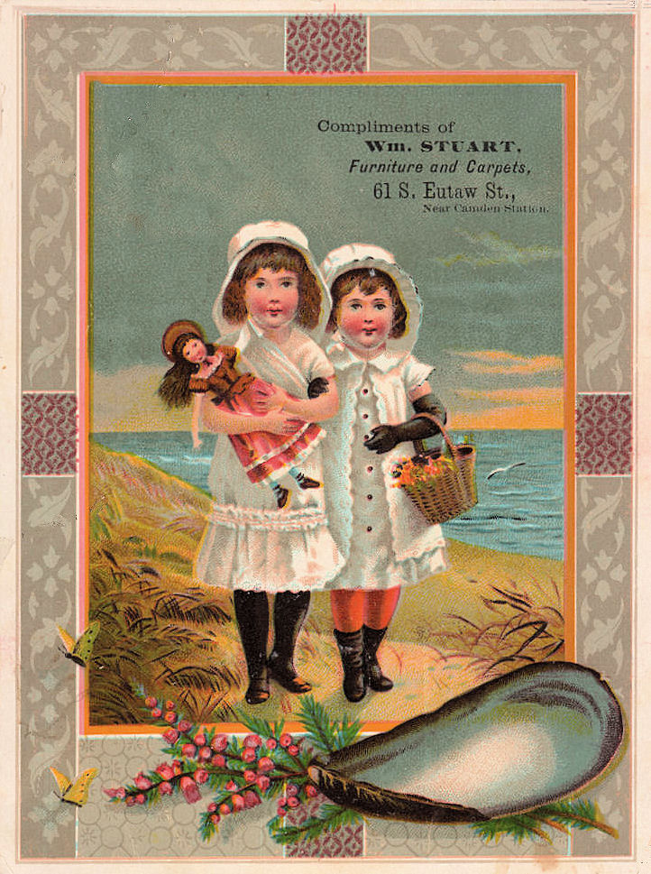 Old Advertising Card Girls With Doll At The Beach The