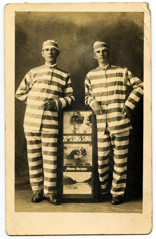 Free Vintage Clip Art - Men In Prisoner Costumes - Theater ...