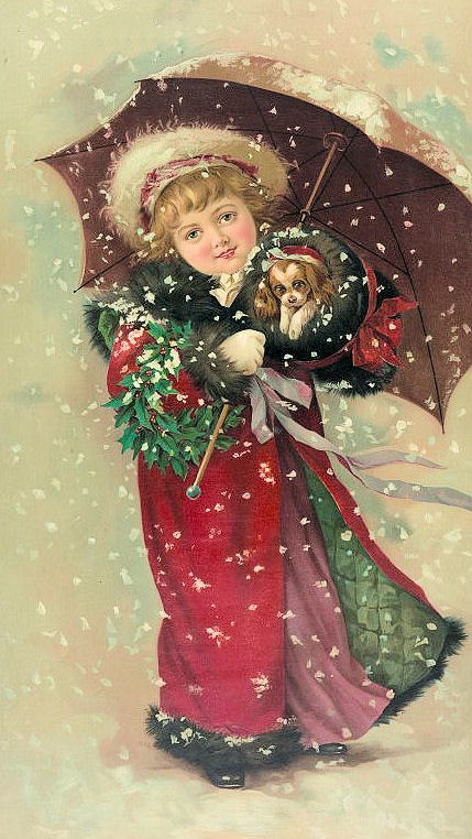 Free Vintage Clip Art Christmas Girl W Puppy The