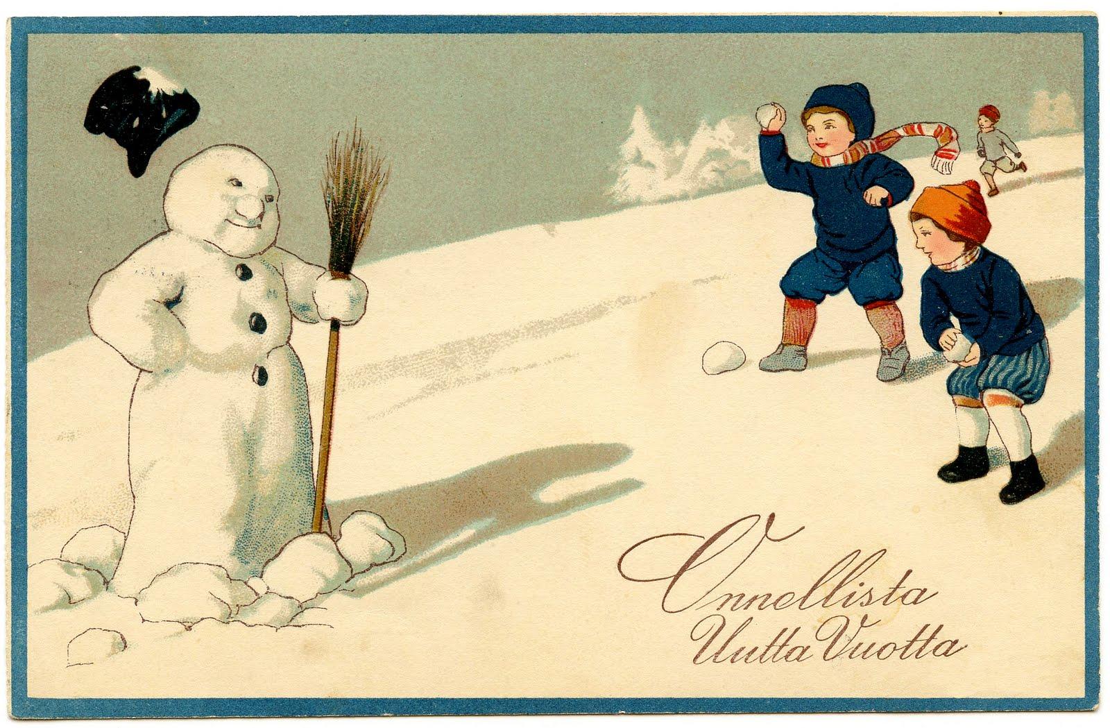 Vintage Clip Art Image Adorable Snowman The Graphics Fairy