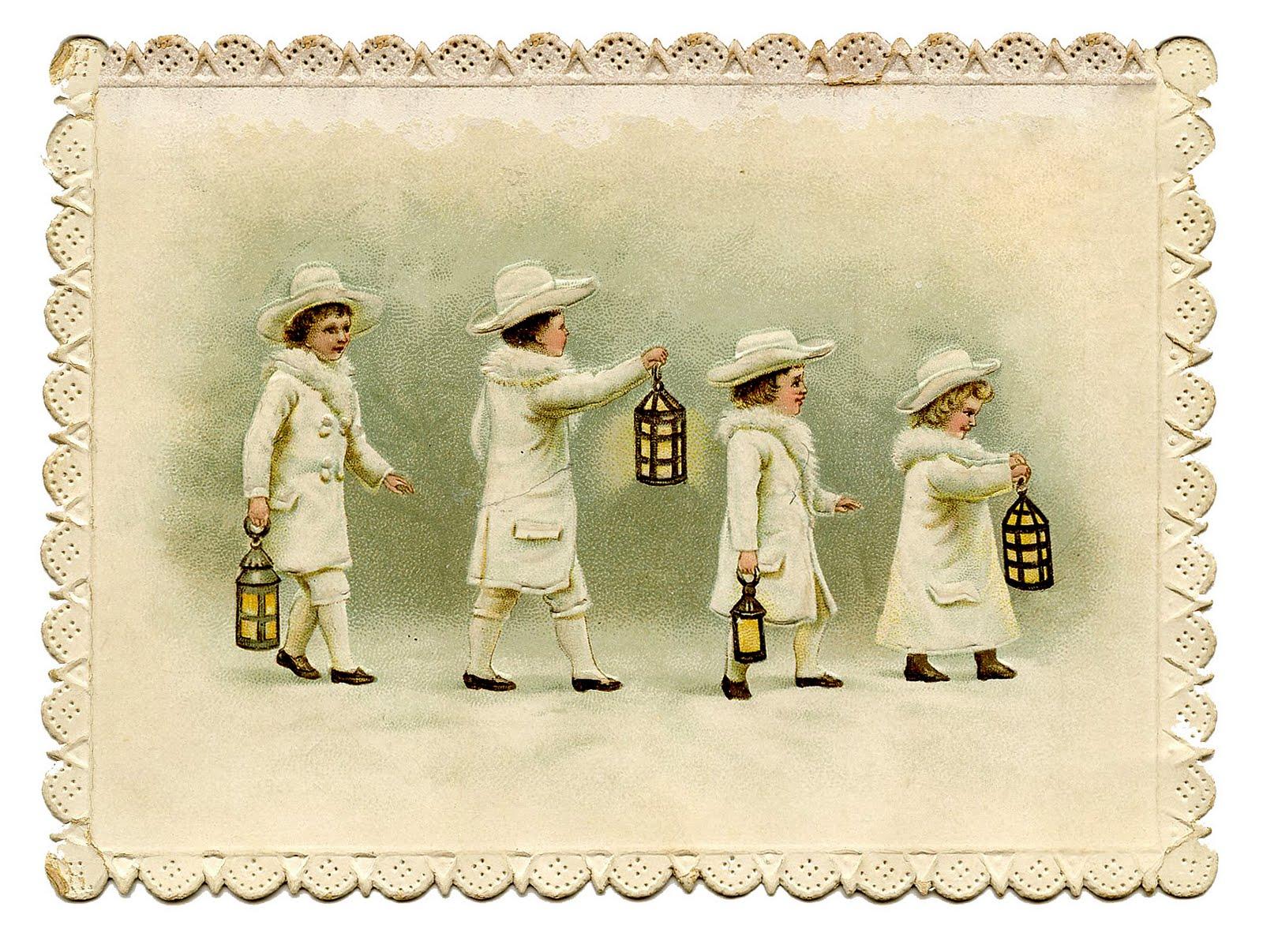 Vintage Winter Clip Art Sweet Snow Children With Lanterns The Graphics Fairy