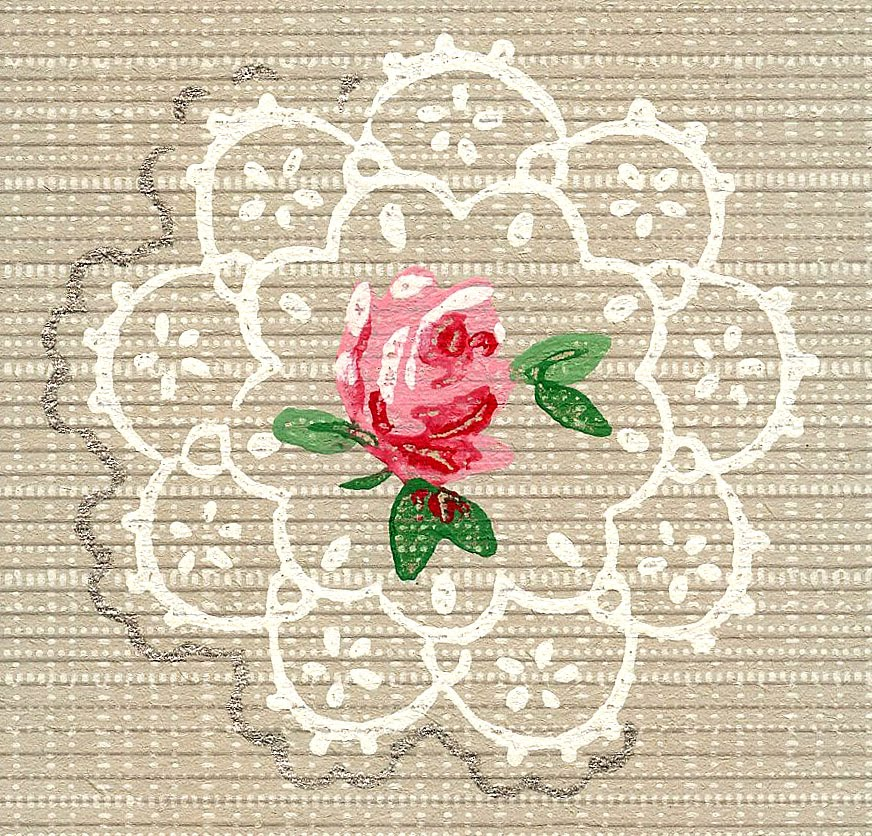 The Graphics Fairy - Doily and Rose Vintage Wallpaper