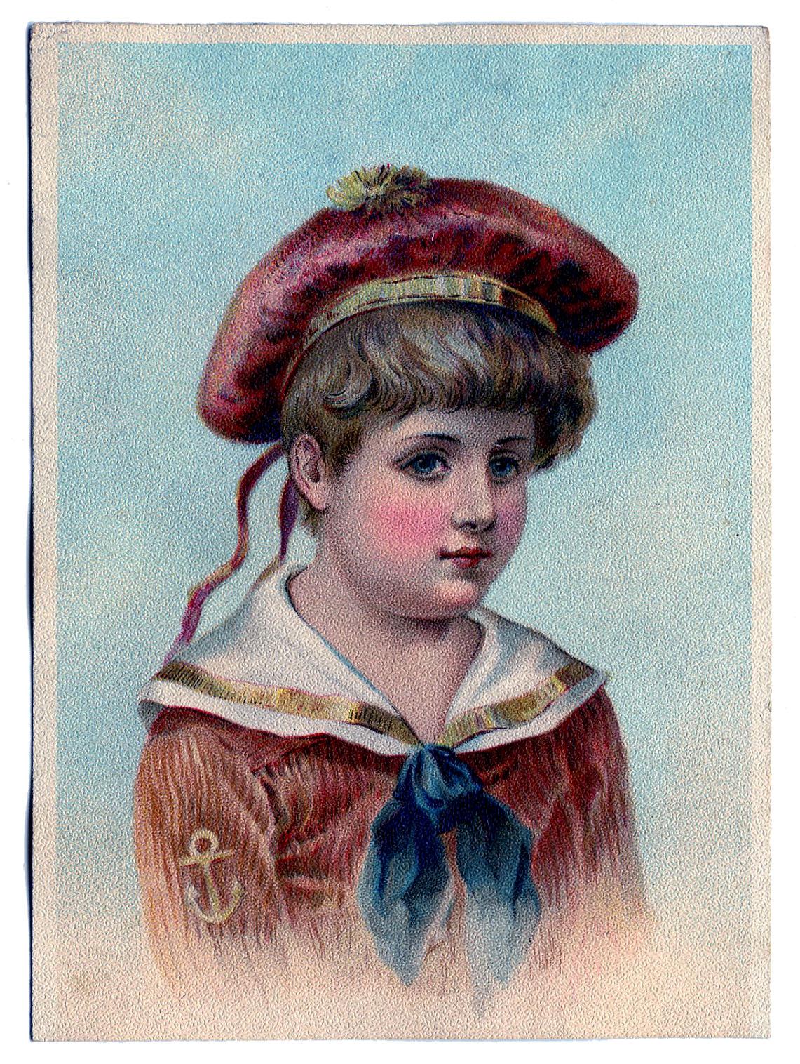 Vintage Clip Art Darling Victorian Sailor Boy The