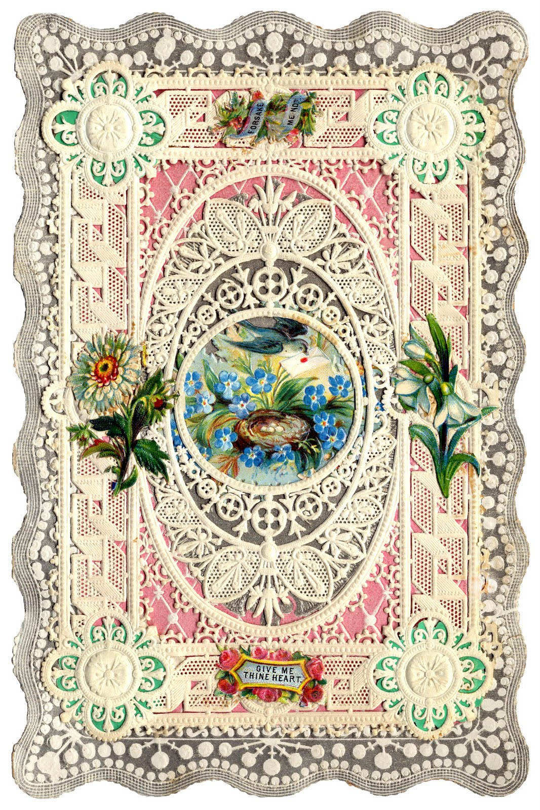 Antique Valentines Bunnies Birds And Butterflies The