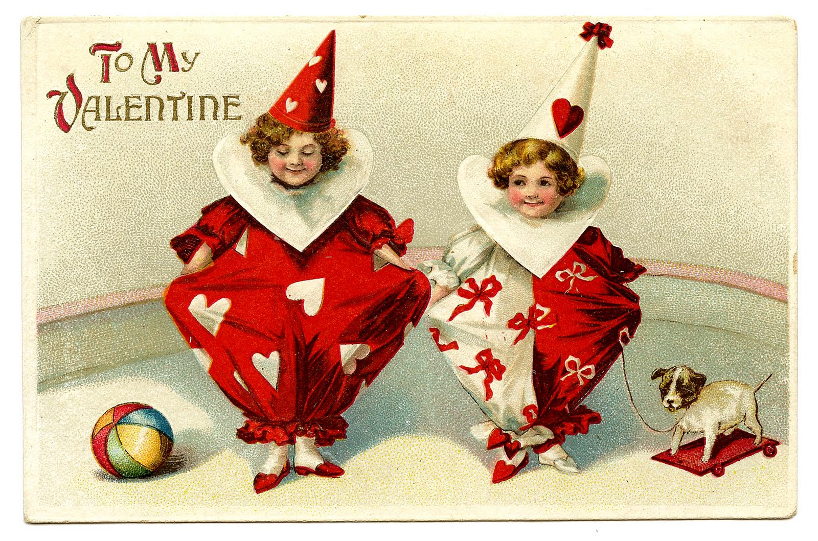 Vintage Valentines Day Clip Art Adorable Clown Children