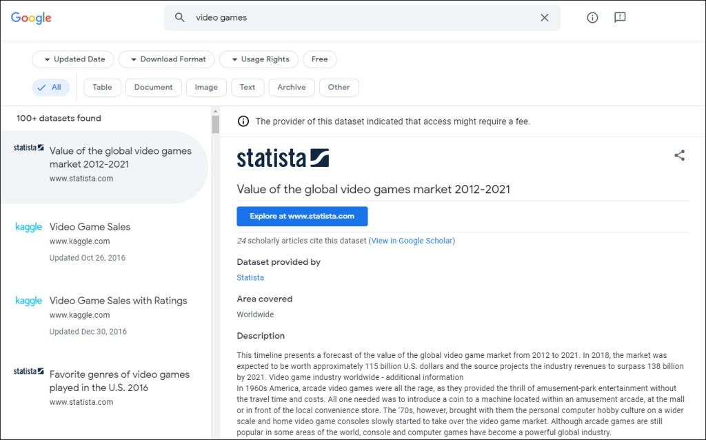 Download format filters now available on Google Dataset Search