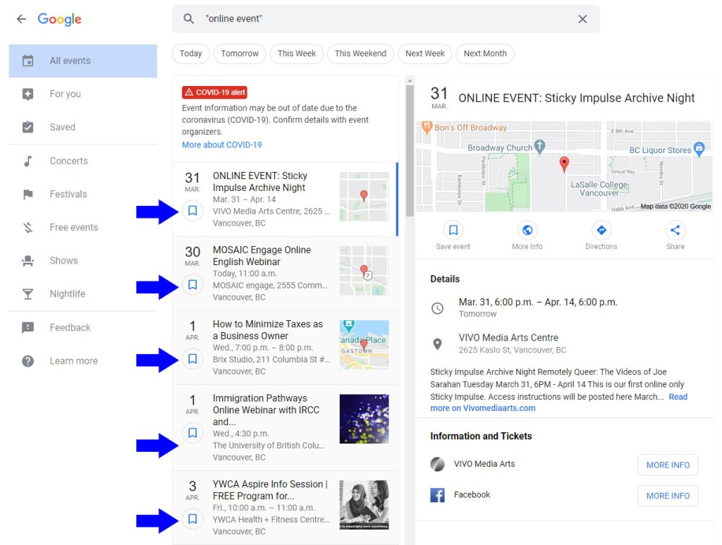 Online events in Google do not display properly in Google's dedicated events results