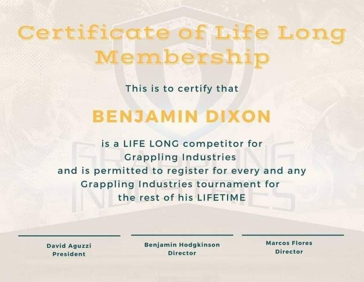 Grappling Industries Lifetime Membership