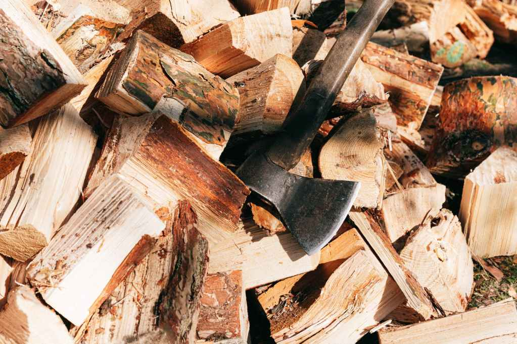 axe placed on firewoods in forest
