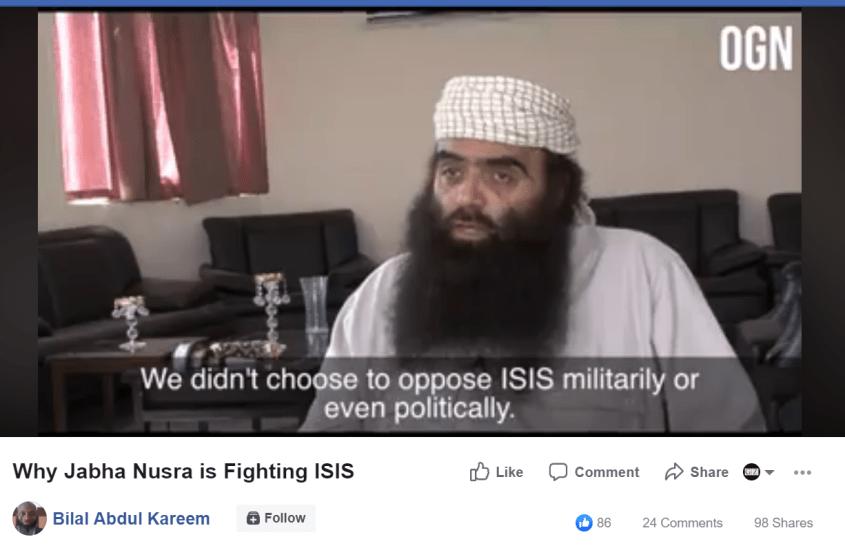 Bilal Abdul Kareem Abu Firas oppose ISIS