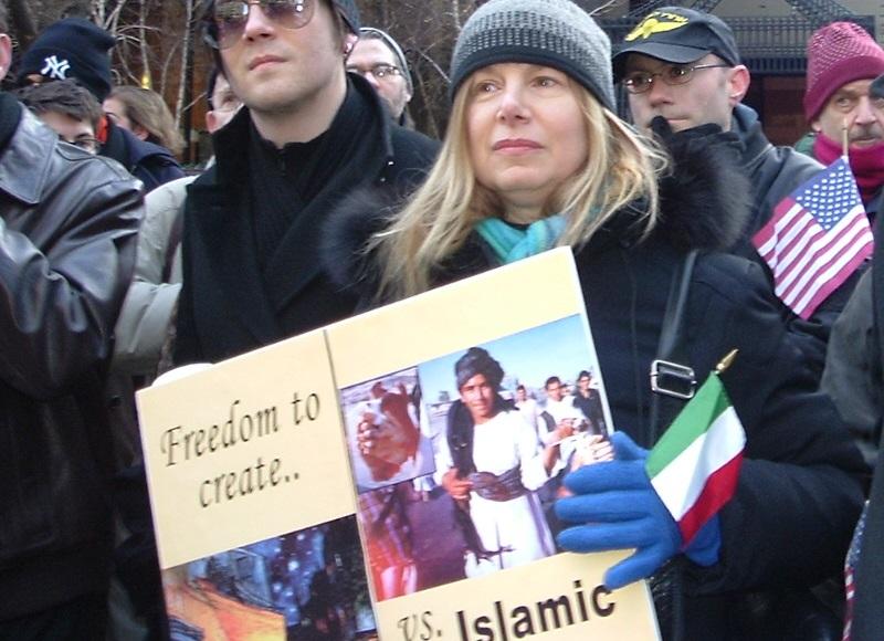 Michael Weiss Denmark Islamophobic rally NYC sign
