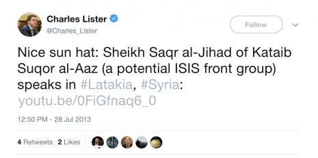 Charles Lister ShamiWitness ISIS hat