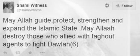 ShamiWitness strengthen Islamic State tweet