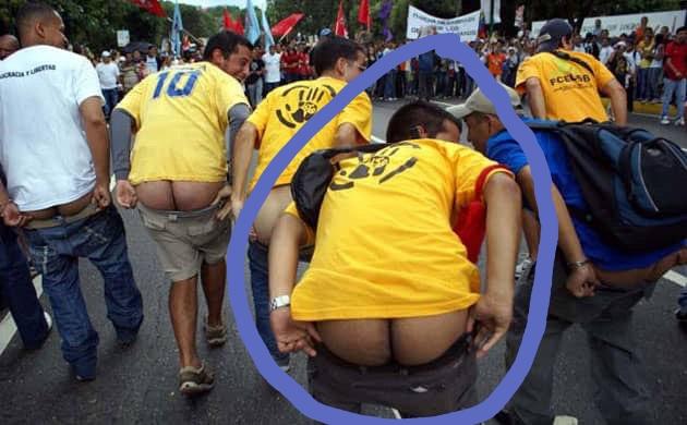 Guaido butt protest Venezuela