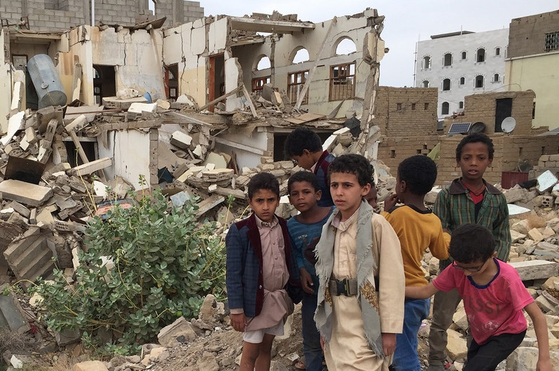 Yemen children rubble WFP